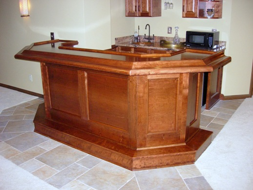 2 level cherry wet bar